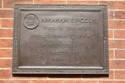 "Lincoln marker on the Petersen House, ""The House Where Lincoln Died."""