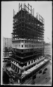 The Flatiron Building during construction