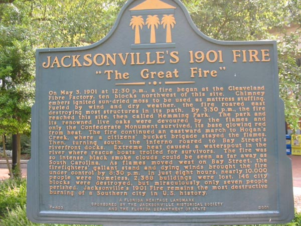 This historical marker offers a brief history of the third-worst urban fire in American hsitory