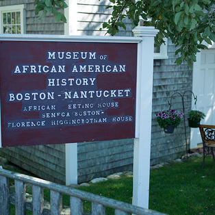 The sign outside of the African Meeting House.