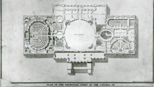 William Thornton's original blueprint for the United States Capitol. Over time, it was modified to include new design elements and accommodate a growing nation. Photo from Architect's Virtual Capitol.