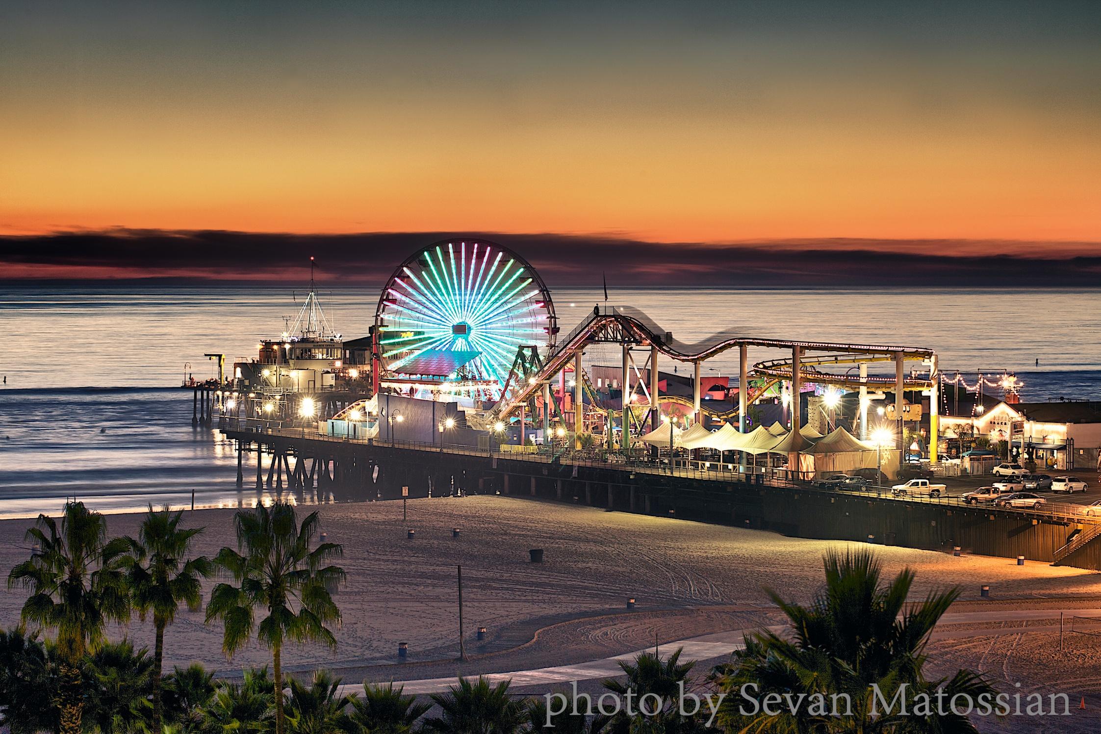 The Santa Monica Pier at night.