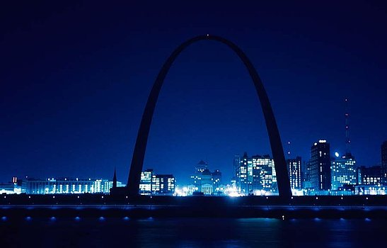 Night view of the Gateway Arch, 1966