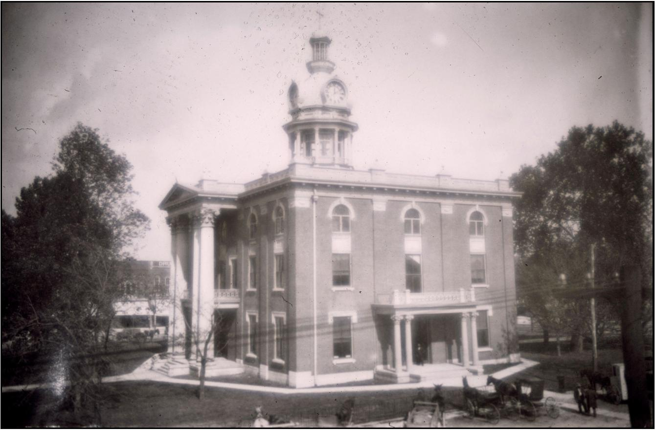 Rutherford County Courthouse in the days of the horse and buggy.