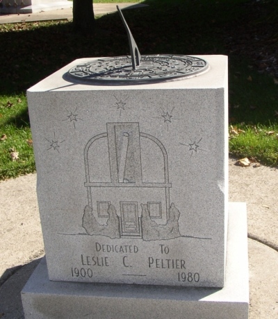 This sundial honors Leslie Peltier and can be found outside the Delphos Library.