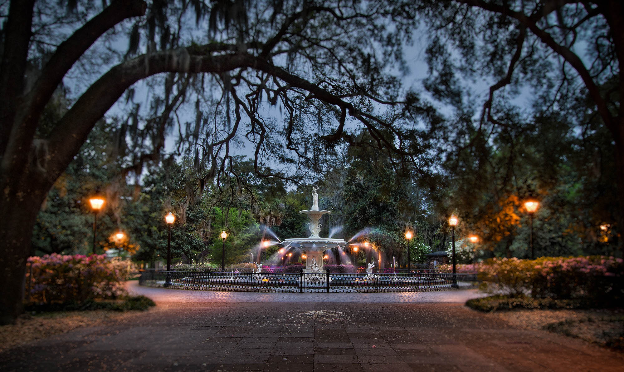 Fountain in the Park at night.