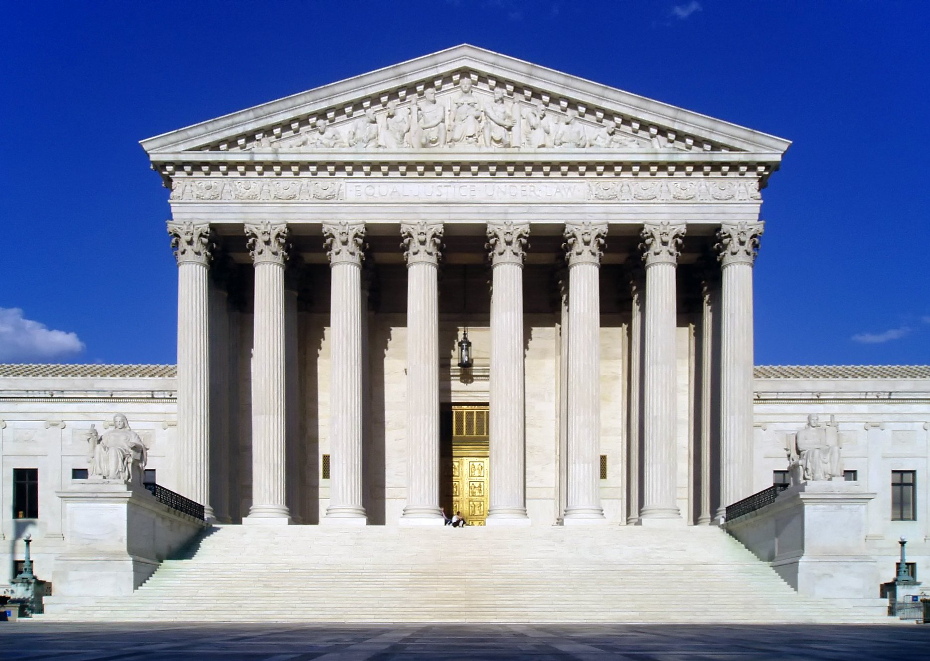"The Supreme Court Building declares ""Equal Justice Under Law,"" with images of Liberty, Roman soldiers representing Order and Authority, architect Cass Gilbert, and other political figures."
