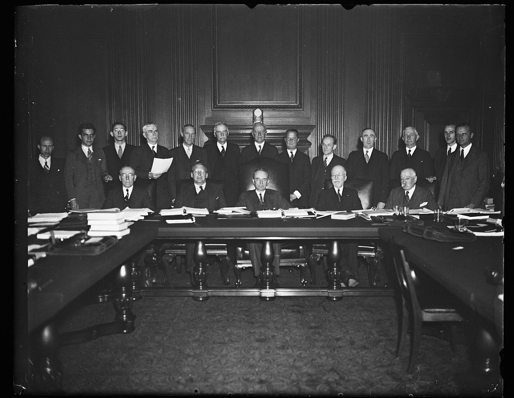 First exclusive picture in new Supreme Court building including members of the United States Supreme Court Advisory Committee. Photo by Harris and Ewing, 1935, Library of Congress.