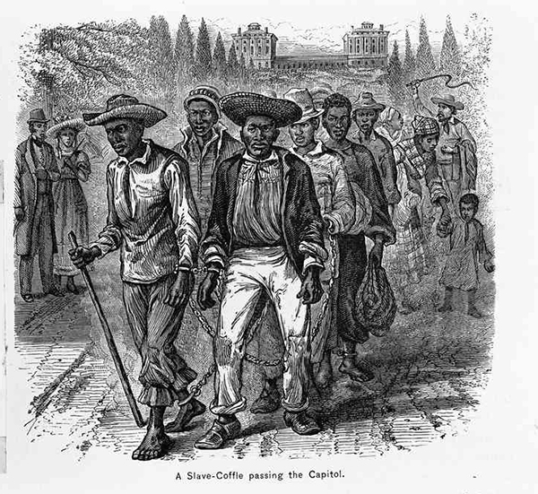 This image from the 1830s shows slaves passing by the nation's capitol on their way to be sold at one of the city's slave markets.