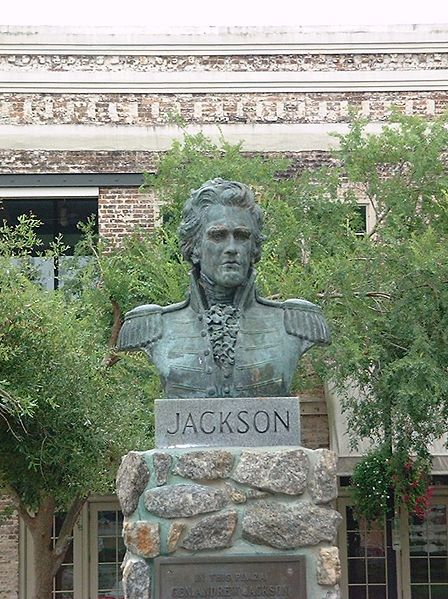 Bust of Andrew Jackson, on the spot where he was sworn in as territorial governor.