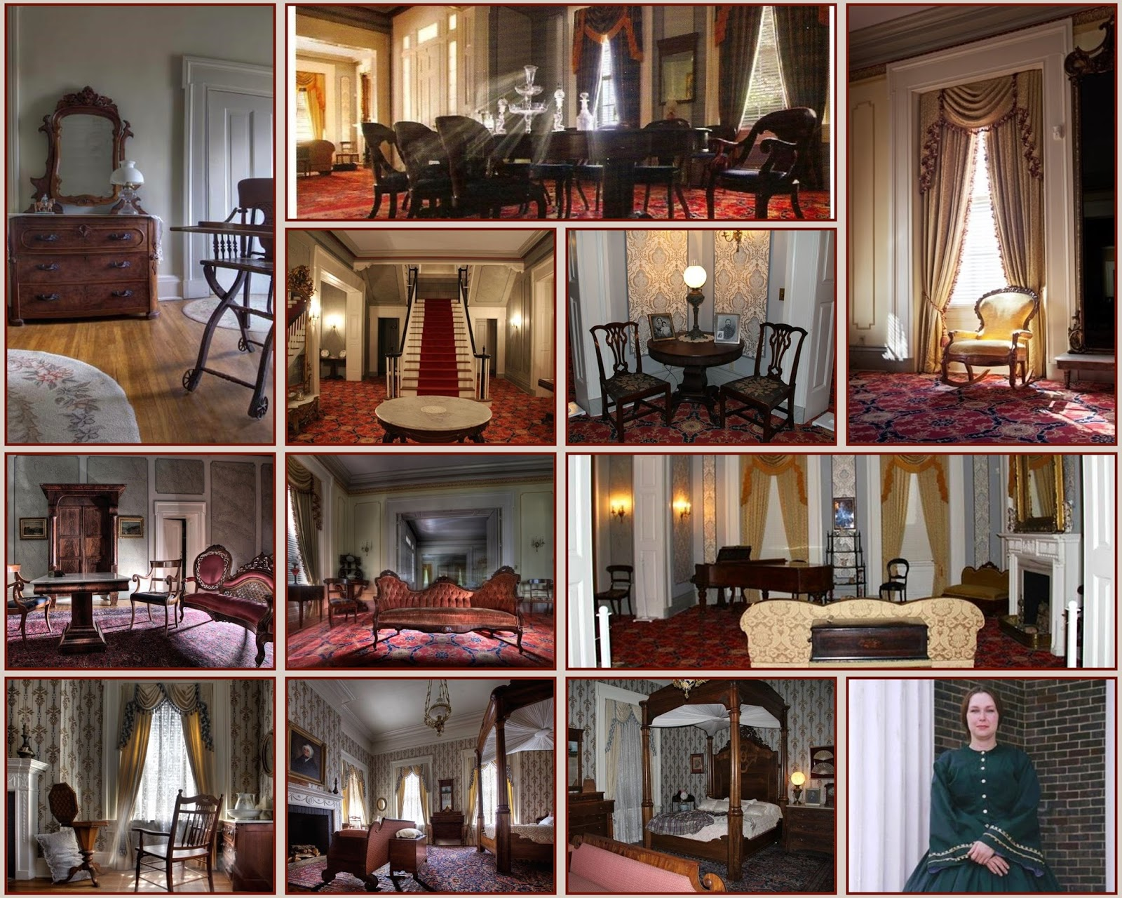 Various images of the numerous rooms within the mansion.