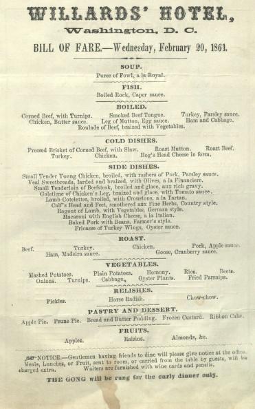 Copy of the Willard's 1861 menu