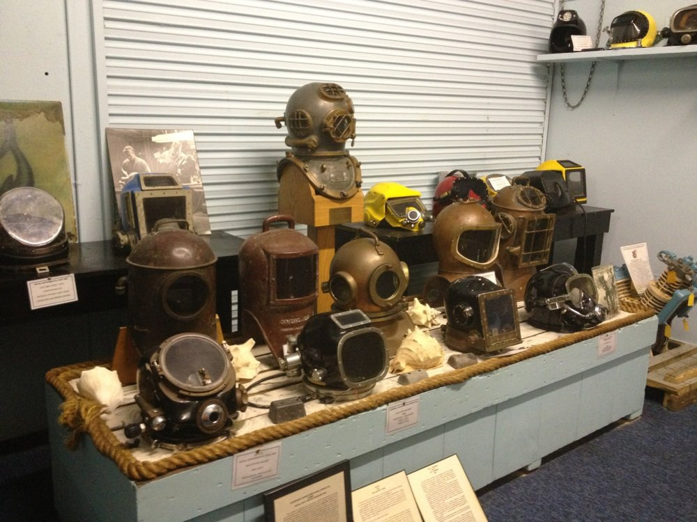 Some of the old diving masks on display