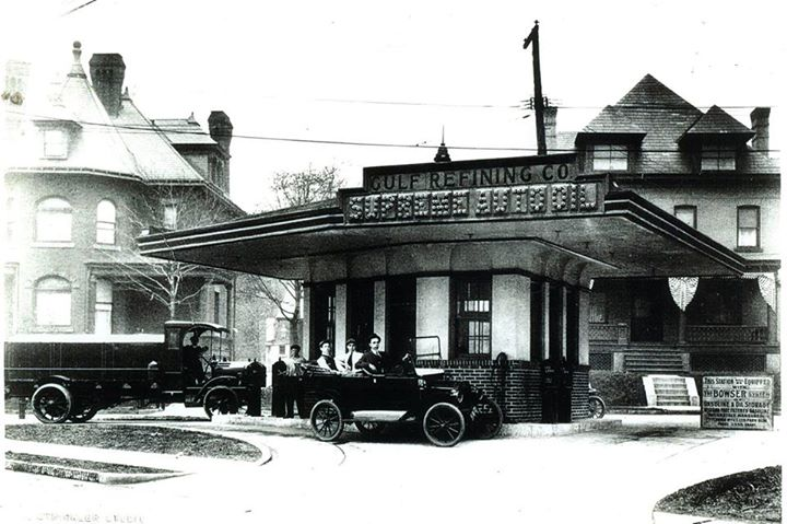 Photo of the world's first drive-in gas station, Baum Blvd. and St. Clair St., Pittsburgh, PA. Photo courtesy The Odd, Mysterious & Fascinating History of Pittsburgh.