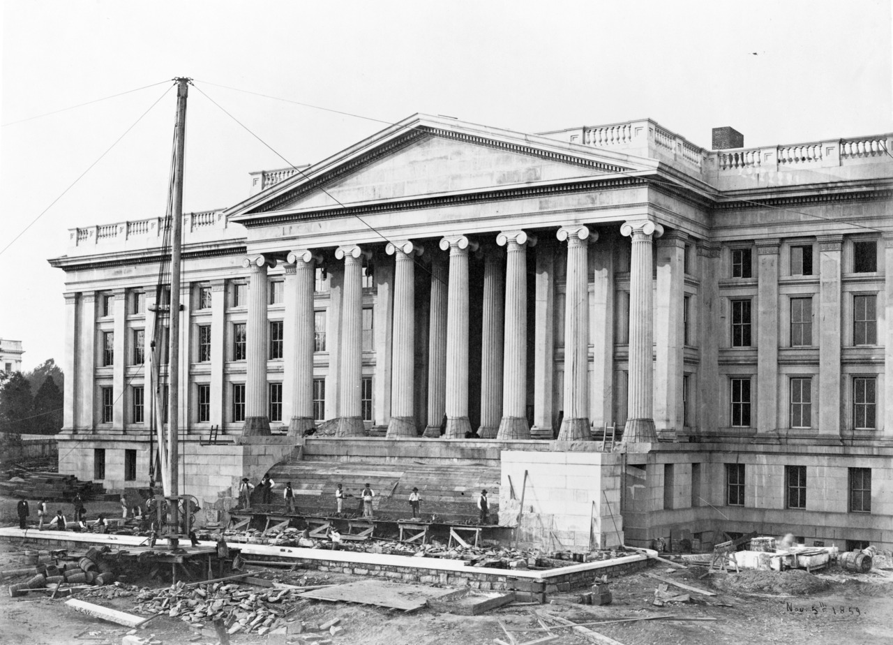 Undated photo of construction of the building's front steps