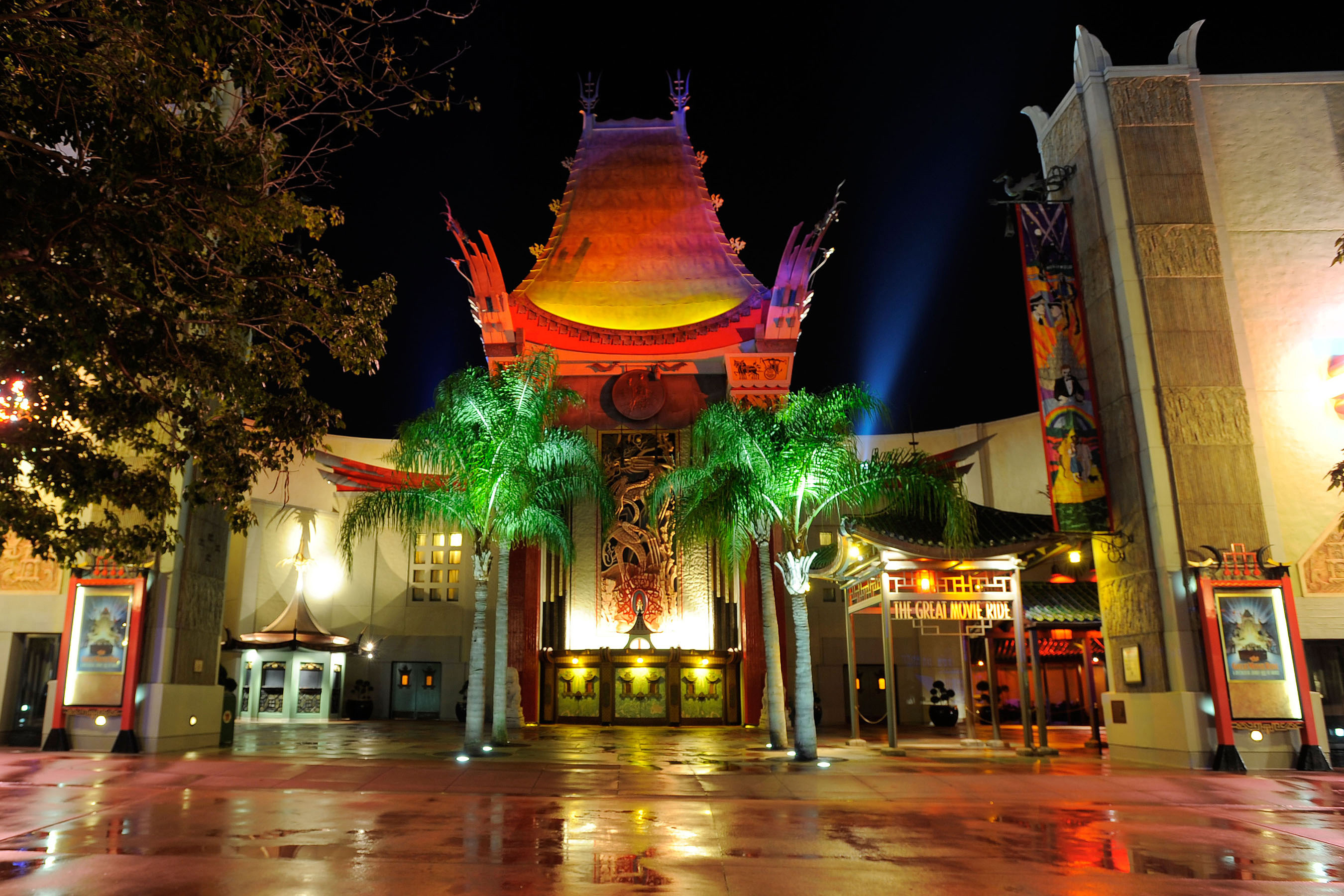 The Chinese Theatre at night.