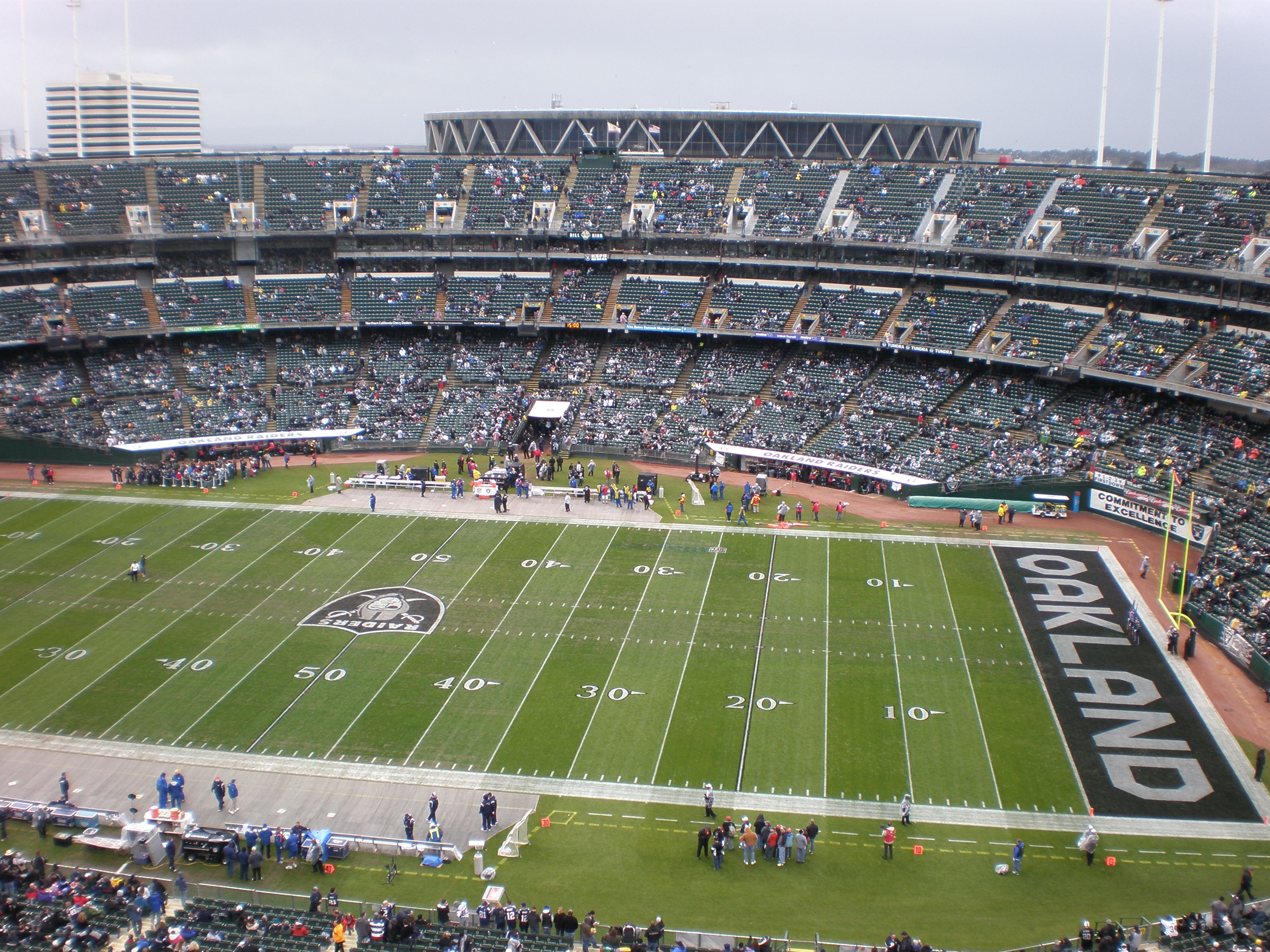 O.co Coliseum as a football field