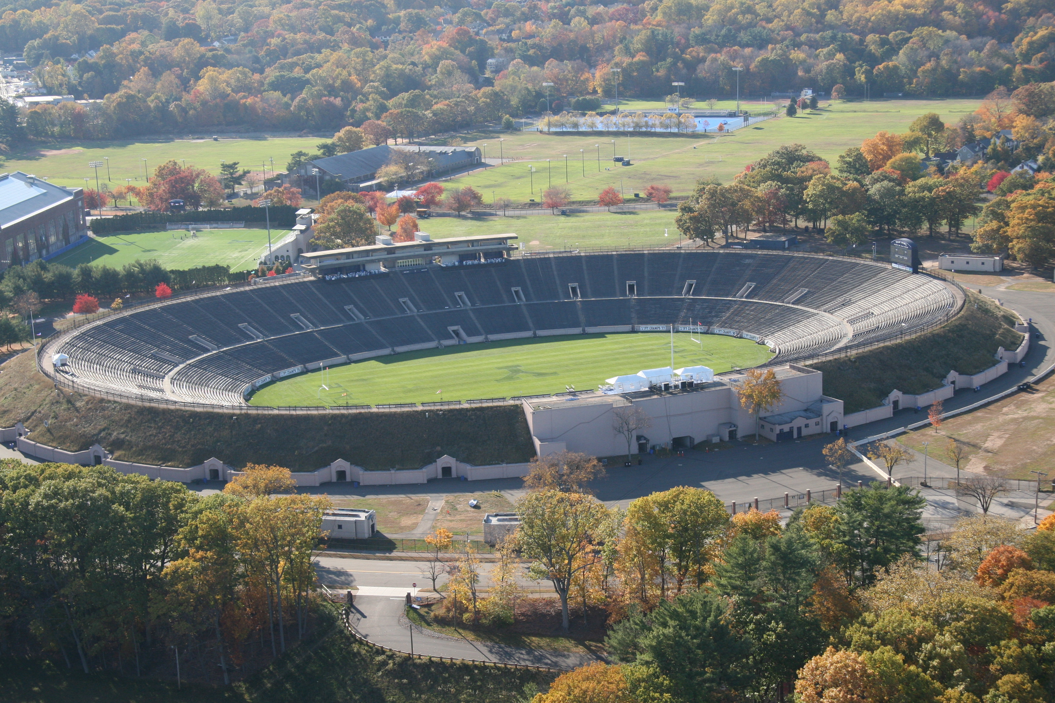 This aerial photo of the Yale Bowl was taken in 2014 as part of the celebration of this historic stadium's 100-year birthday.