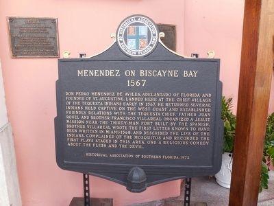Menéndez on Biscayne Bay- Historical Marker
