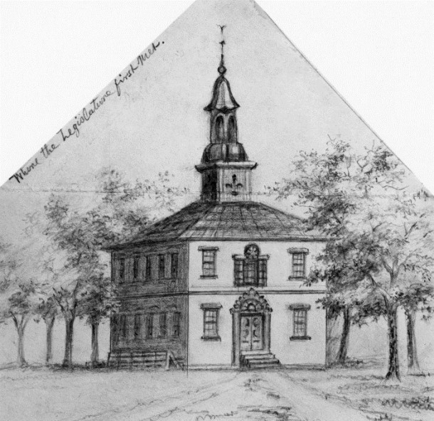 The First Marion County Courthouse (circa 1824 C.E. or 1825 C.E. until replaced in 1876 C.E. by the second courthouse which was demolished in the latter half of the 20th century)
