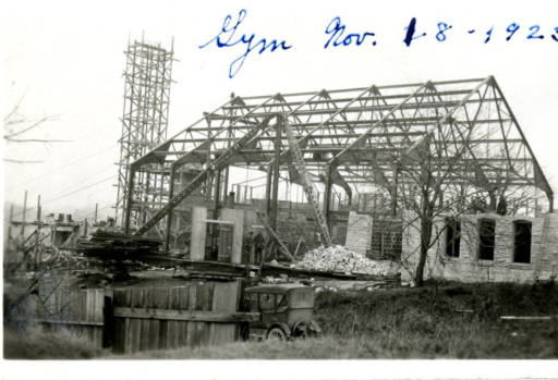 Ganfield Gymnasium under construction circa 1923.