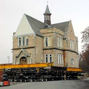 "The building being moved or ""rolled"" to its current location in 2003"
