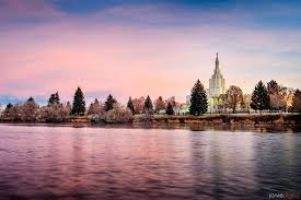 Temple at riverside, Snake River. This is an example of the type of scenery with temple included that locals and tourists enjoy.