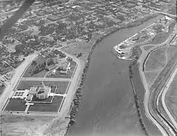 Ariel view of Idaho Temples and Snake River in 1948