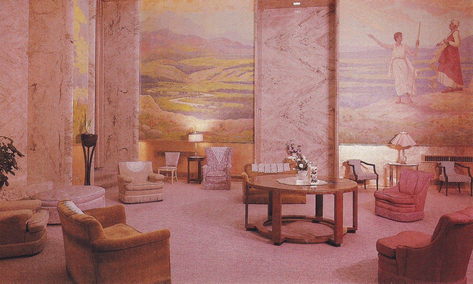 Published photo by the LDS church of a portion of the Celestial Room inside temple