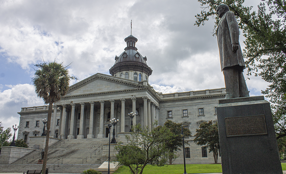 South Carolina State House, 2019, with the Benjamin Ryan Tillman Monument in the foreground.