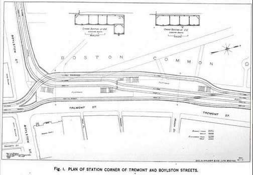Plan of Station Corner at Tremont and Boylston Streets