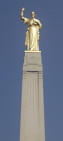 Close up shot of Angel Moroni on top of Angel Moroni Monument on Hill Cumorah