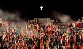 Scene from Hill Cumorah Pageant. Scene depicts Christ's visit to the American continent