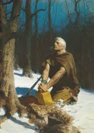 Painting depiciting Moroni about 421 A.D. hiding the gold record and praying to God for its protection until God deems it time to reveal it to the world.