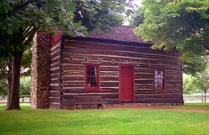 Peter Whitmer Sr. log cabin as it looks today (replica)