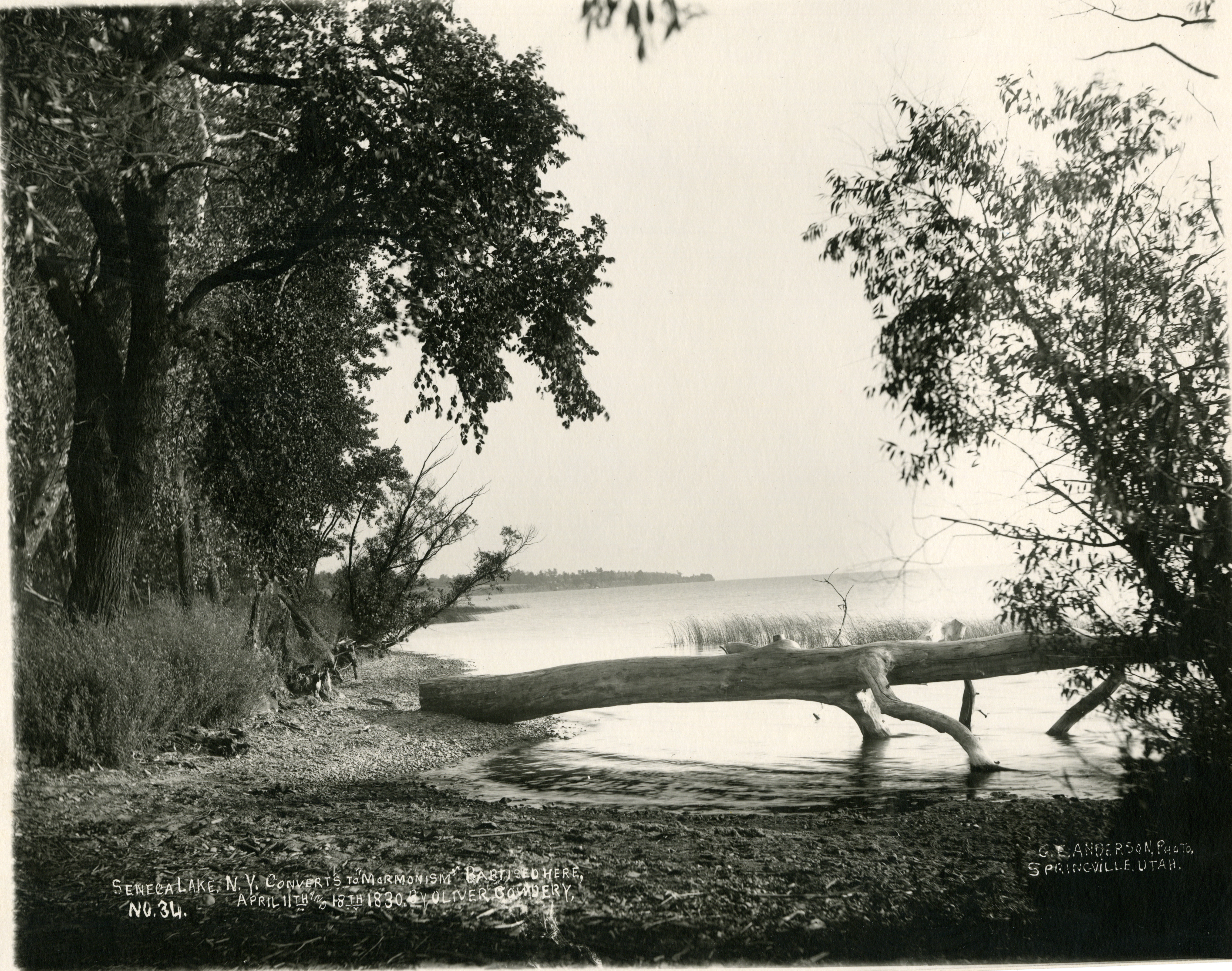 late 19th century photo of Seneca Lake. This side of lake is where the baptisms are believed to have taken place.