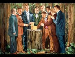 Painting of Joseph Smith Jr. with the Eight Witness (in no order): 