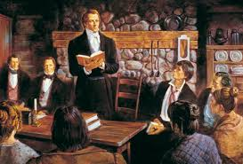 Painting depicting Joseph Smith Jr. leading in the formal organization of the church