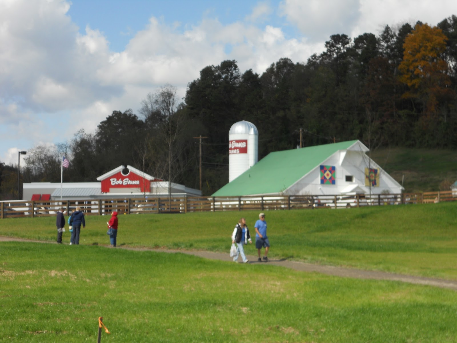 The Bob Evans Farm, with the restaurant visible in the background.