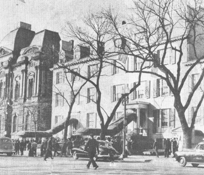 Blair House on November 1, 1950 after the failed attempt to assassinate Truman. (Unknown source)