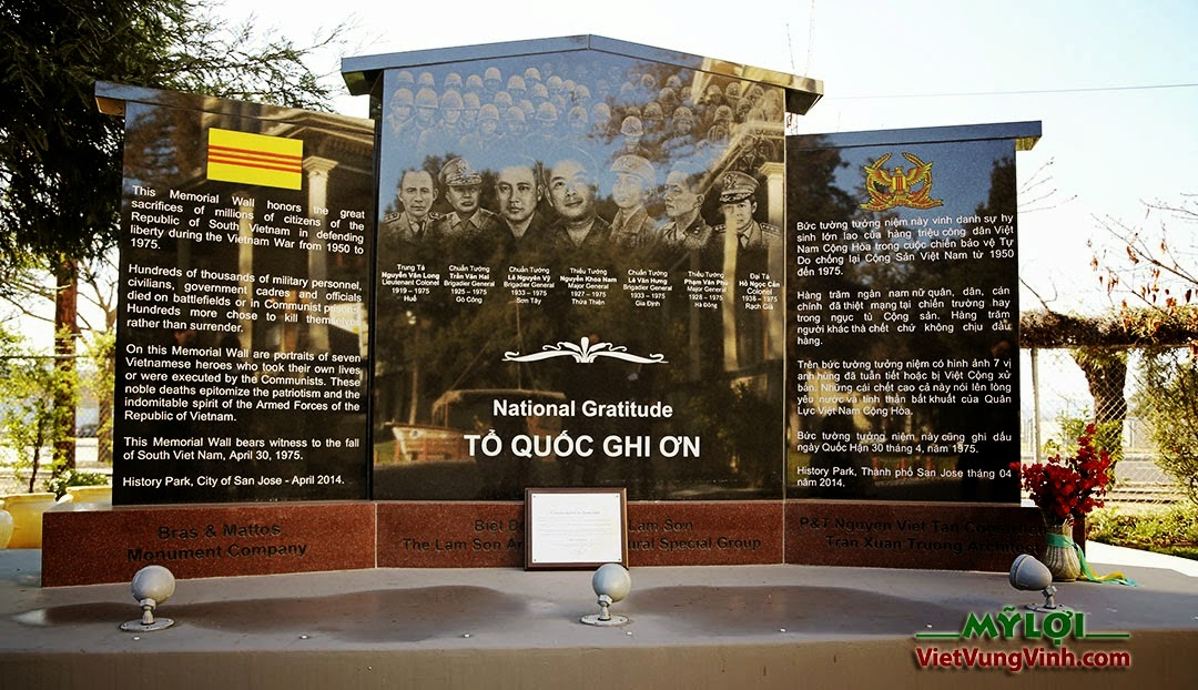 Memorial wall dedicated to the Republic of Vietnam and those who gave their lives defending it located near the Viet Museum.