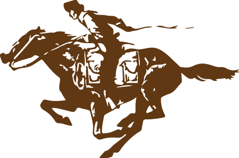 Iconic image of the Pony Express rider