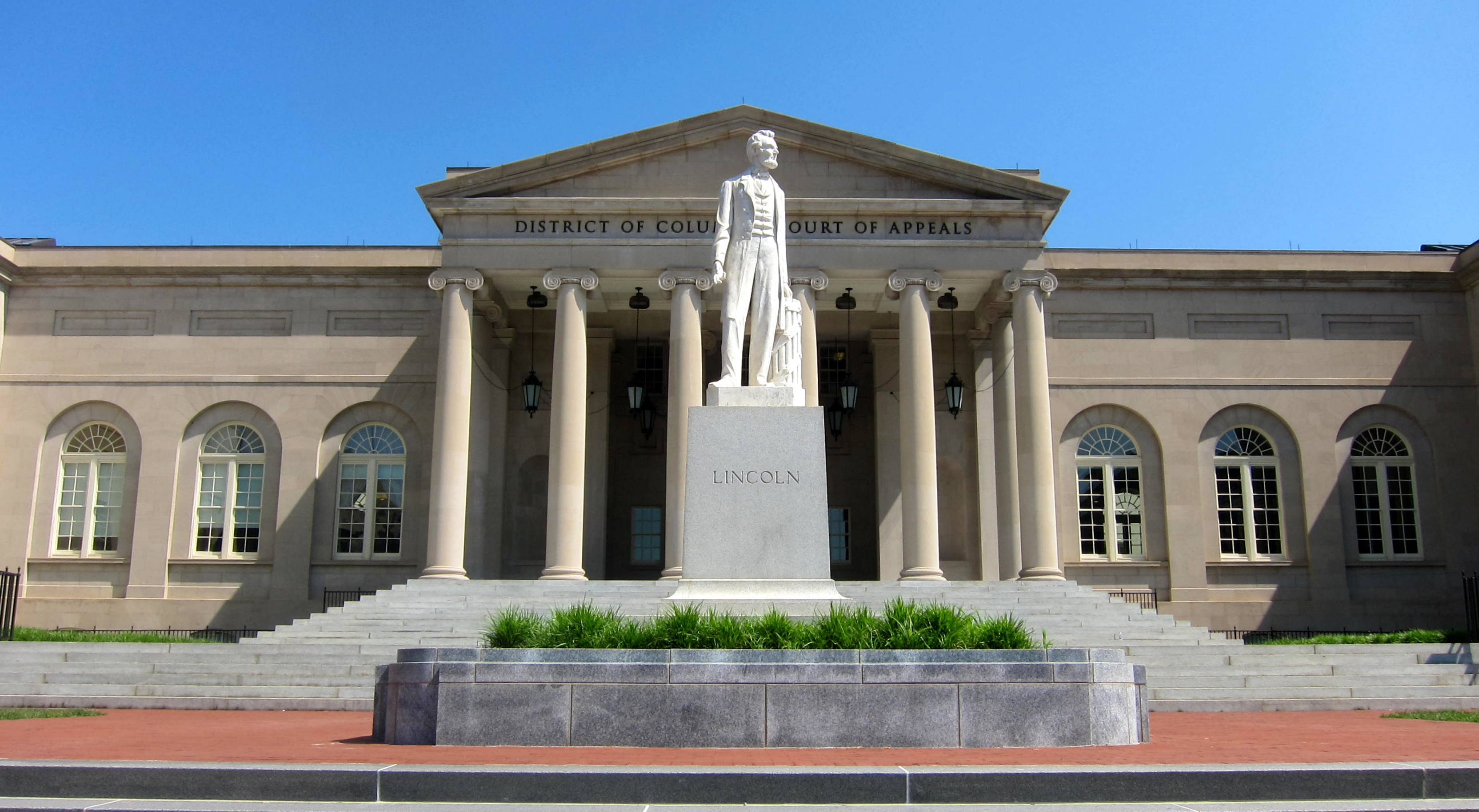 The District of Columbia Court of Appeals is now located in what was originally built to be the District of Columbia City Hall. The statue of Lincoln was dedicated in 1868.