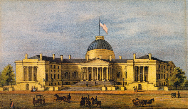 The building was originally designed to include a dome as pictured in here, but the dome was never completed. Today the building is known as Old City Hall and the District of Columbia Courthouse.
