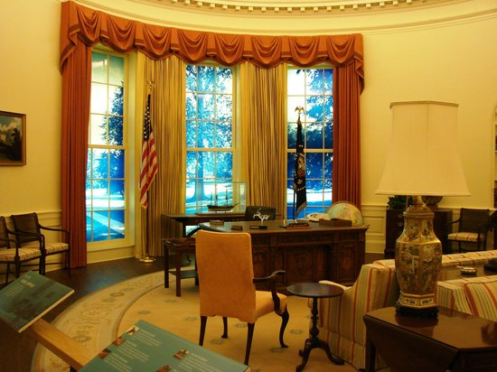 This part of the library is a full-scale replica of President Carter's Oval Office.