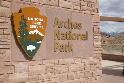 The Arches National Park visitor center features exhibits, bookstore, and restrooms.