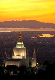 Oakland Temple overlooking parts of San Francisco and its bay