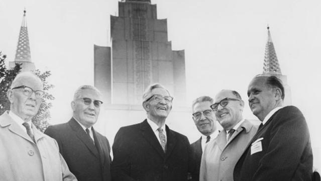 Dedication in 1964. President Joseph Fielding Smith, President Hugh B. Brown, Church President David O. McKay, President N. Eldon Tanner, President O. Leslie Stone and temple president Delbert F. Wright. Photo courtesy of the LDS Church.