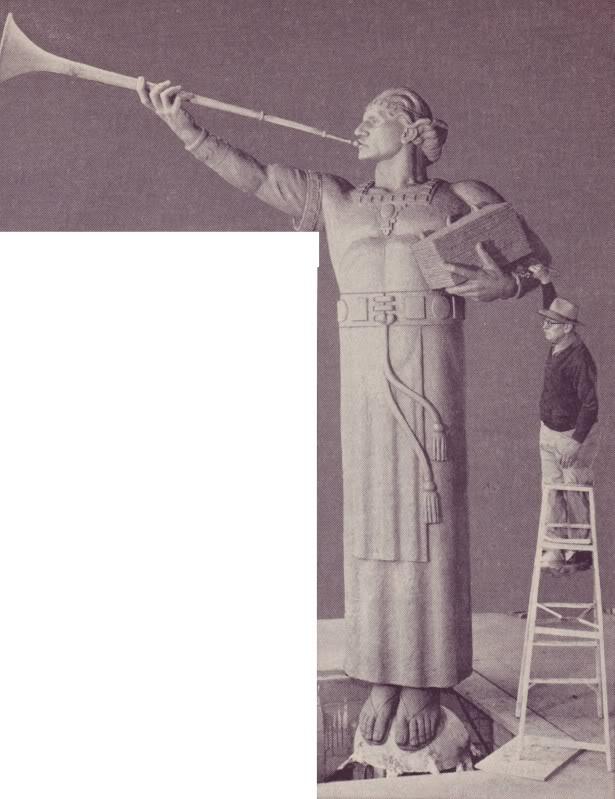 Millard Malin in 1951 prepare angel Moroni for lOS aNGELES TEMPLE