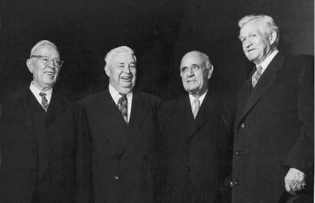 First Presidency of the LDS church at the dedication. L-R: Joseph Fielding Smith (Counselor), Rueben J. Clarke (Counselor), Apostle LeGrand Richards and Church President, David O. McKay